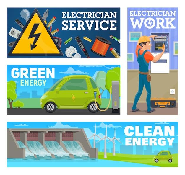 Trabajador de servicio de electricista y limpio