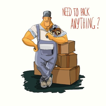 Trabajador de servicio de entrega muscular con cajas de cartón y dispensador de cinta ilustración vectorial cartel