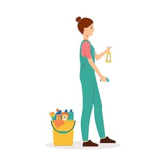 Trabajador de servicio de limpieza o empleado en uniforme, personaje de dibujos animados de mujer haciendo limpieza en húmedo y rociando detergente