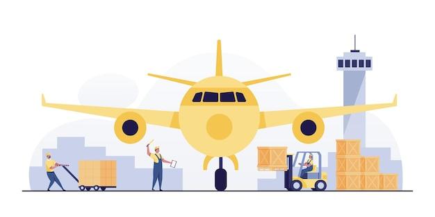 Trabajador de sexo masculino en uniforme está cargando cajas de la carretilla elevadora al avión. concepto de transporte aéreo.
