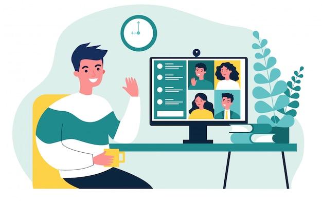 Trabajador usando computadora