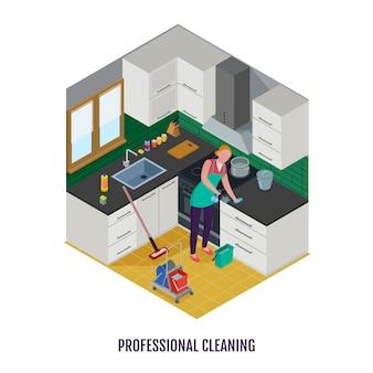 Trabajadora en delantal con detergentes y equipos durante la limpieza profesional de cocina isométrica