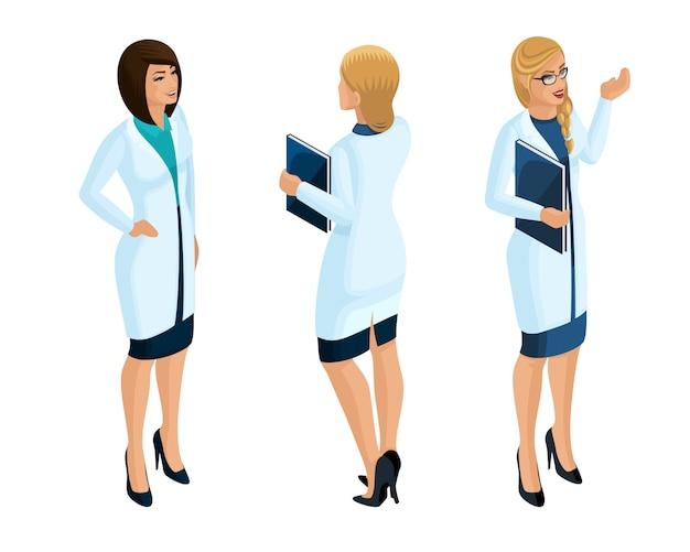 De una trabajadora médica, un médico, cirujano, enfermera, hermosa en batas médicas