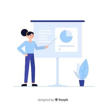 Trabajadora profesional de oficina con diseño plano