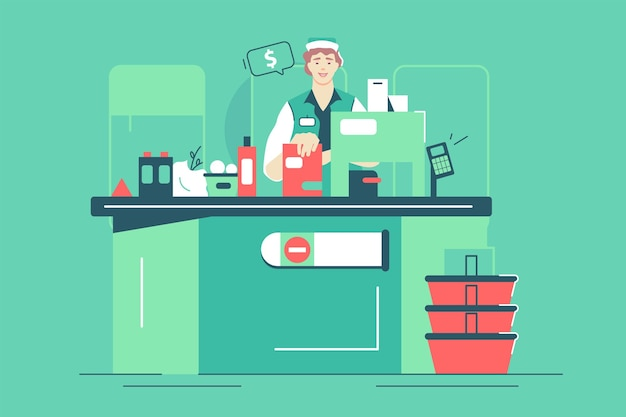 Trabajadora de supermercado en la ilustración de vector de caja. montón de estilo plano de alimentos y bebidas orgánicos frescos. compras, tienda de comestibles, concepto de pago. aislado sobre fondo verde