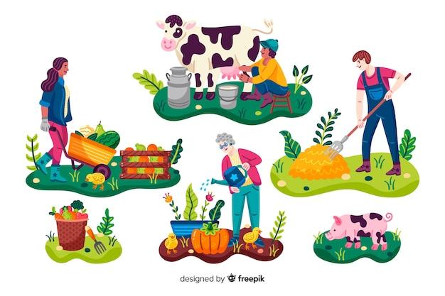 Trabajadores agrícolas con animales y verduras.