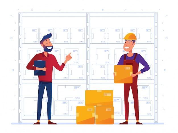 Los trabajadores del almacén almacenan cajas en el estante