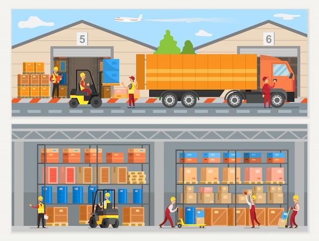 Trabajadores del almacén con cargadores de cajas y camiones