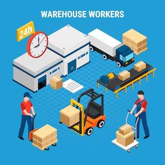 Trabajadores del almacén cargando y entregando cajas ilustración isométrica 3d