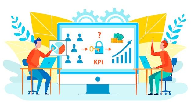 Trabajadores analizando kpi ilustración plana aislada