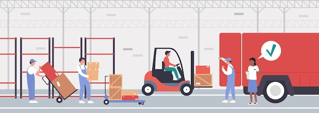 Trabajadores cargando mercancías y pila de cajas