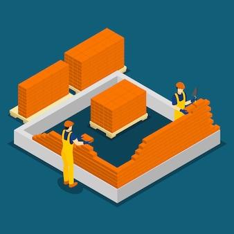 Trabajadores de la construcción de edificios bandera isométrica