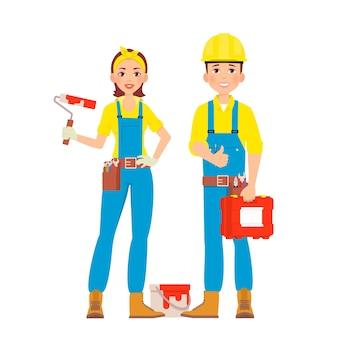 Trabajadores de la construcción con equipo profesional.