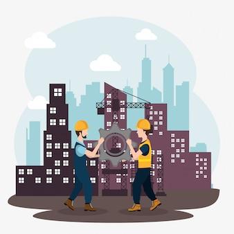 Trabajadores de la construcción con iconos en construcción