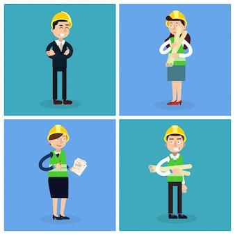 Trabajadores de la construcción. ingeniero y gerente de proyectos. ingeniería en construcción. ilustración vectorial