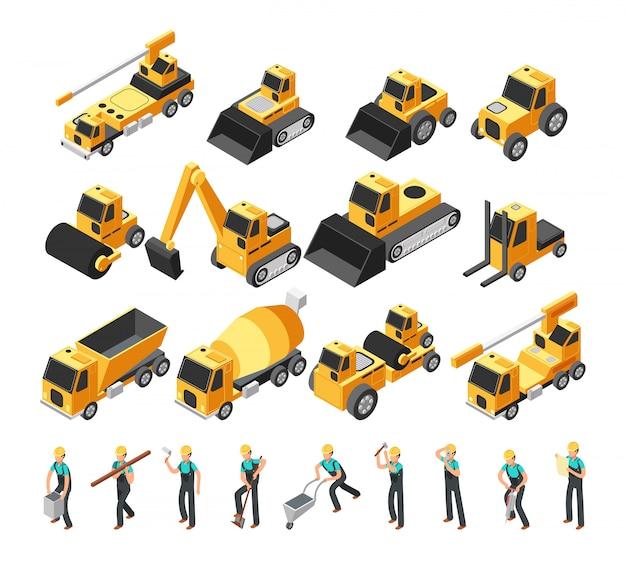 Trabajadores de la construcción isométrica, construcción de maquinaria y equipo conjunto de vectores 3d