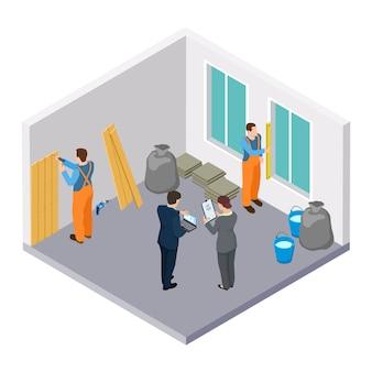 Trabajadores de la construcción isométrica, ilustración isométrica de reparación de sala