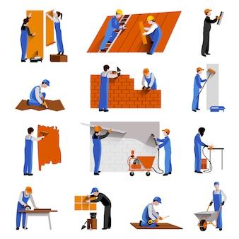Trabajadores constructor de ingenieros y conjunto de iconos técnicos