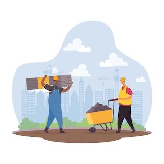 Trabajadores constructores con herramientas, personajes, escena, diseño de ilustraciones vectoriales