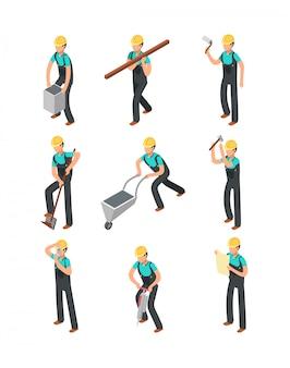 Trabajadores constructores, profesionales de la construcción aislados conjunto de personas 3d