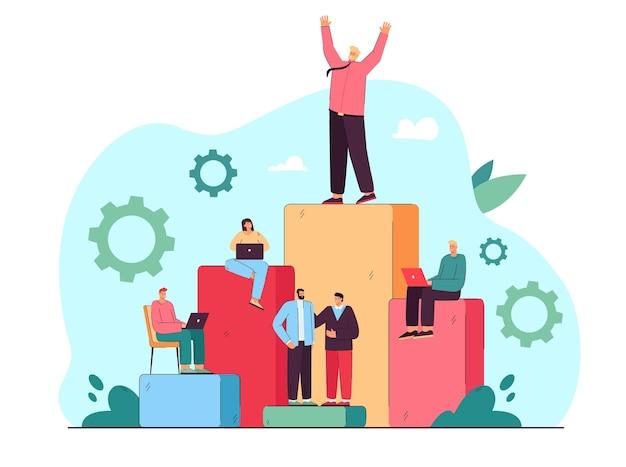 Trabajadores corporativos logrando el éxito en los negocios.