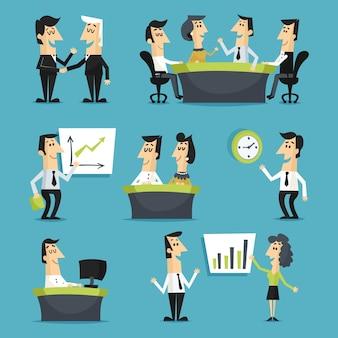 Trabajadores de oficina planos