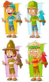 Trabajadores de dibujos animados con conjunto de caracteres de loro