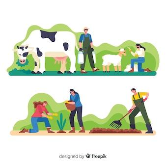 Trabajadores de dibujos animados en la granja haciendo actividades