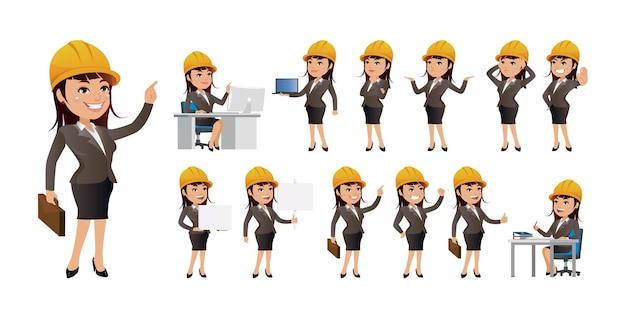 Trabajadores con diferentes poses. vector