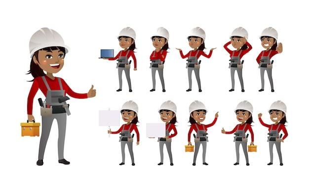 Trabajadores con diferentes poses