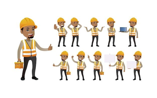 Trabajadores con diferentes poses.