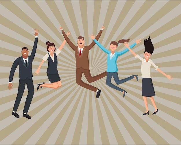 Trabajadores ejecutivos felices
