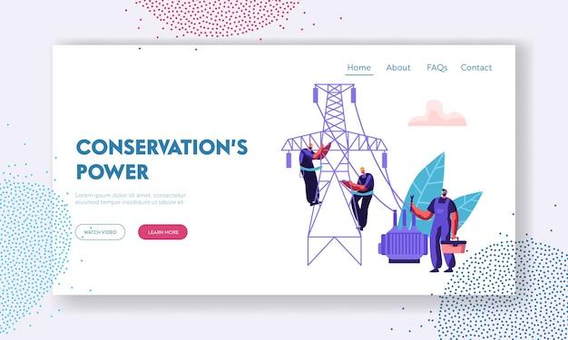 Trabajadores electricistas que reparan la página de aterrizaje de la línea eléctrica. concepto de instalaciones eléctricas con ingeniero reparador