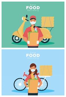 Trabajadores de entrega segura de alimentos con bolsas de comestibles en motocicleta y bicicleta