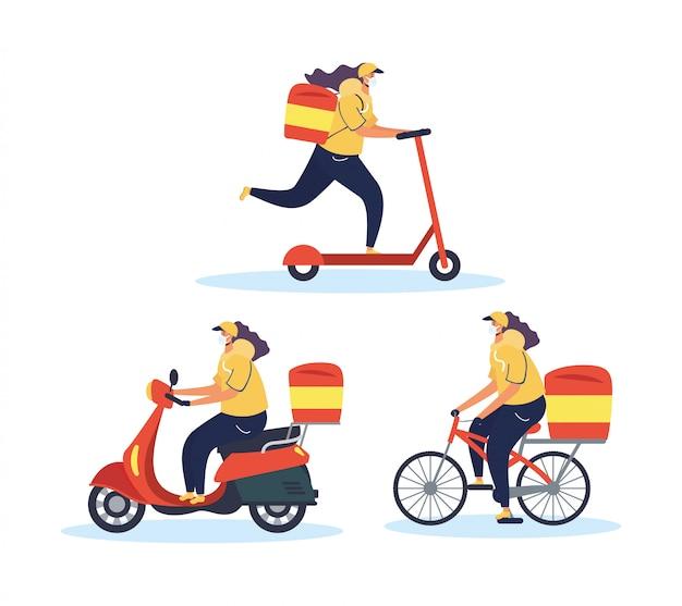 Trabajadores de entrega segura de alimentos con servicio de vehículos.