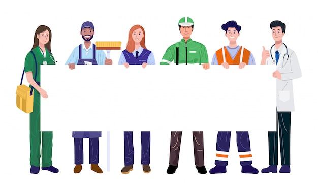 Trabajadores esenciales sosteniendo pancarta en blanco. ilustración vectorial