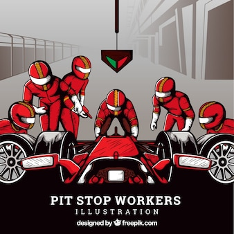 Trabajadores de fórmula 1 en el pit stop dibujados a mano