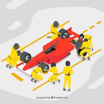 Trabajadores de fórmula 1 en el pit stop con diseño plano
