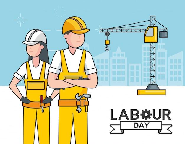 Trabajadores con una grúa, edificios, ilustración