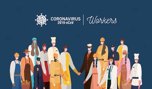 Trabajadores de hombres y mujeres con diseño de uniformes y máscaras