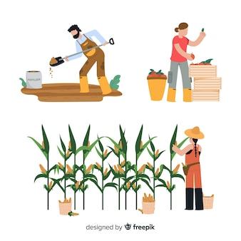 Trabajadores en la ilustración de actividad agrícola