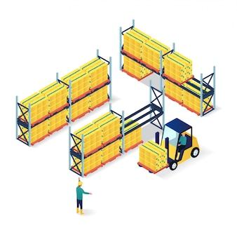 Trabajadores en ilustración isométrica de almacén de embalaje