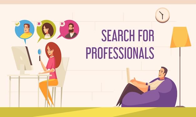 Trabajadores independientes a distancia, trabajo conveniente desde casa, composición cómica plana con agente de reclutamiento que busca profesionales en línea