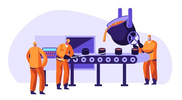 Trabajadores de la industria metalúrgica. ilustración de concepto de empresa de producción de metal