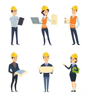 Trabajadores industriales. arquitecto e ingenieria masculina y femenina.