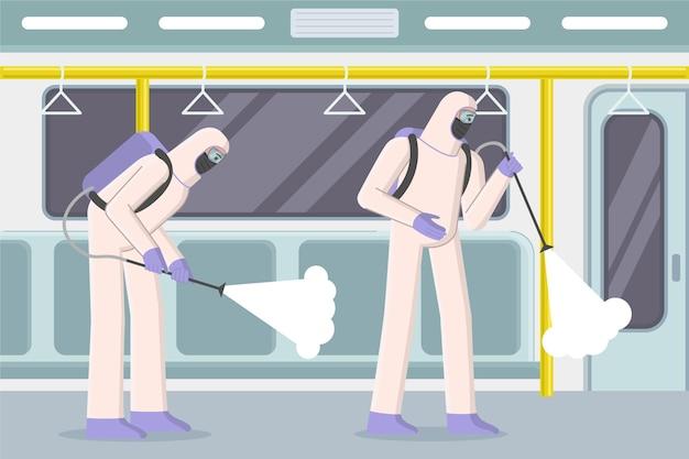 Trabajadores limpiando áreas públicas