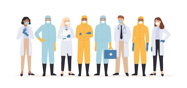 Trabajadores médicos. médicos y enfermeras profesionales en trajes de protección de pie juntos. ilustración de la pandemia del brote del virus covid 19