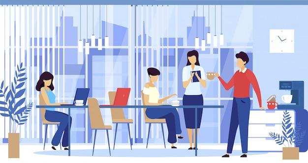 Trabajadores de oficina con coffee break, empresarios en escritorios con computadoras y tazas de café, cafetera ilustración.