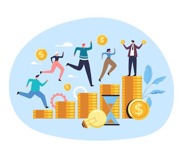 Trabajadores de oficina colega hombre mujer gente personajes compiten corriendo por concepto de ingresos de contrato de salario de trabajo de dinero.