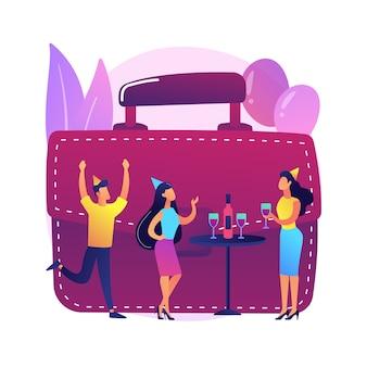 Trabajadores de oficina, compañeros de trabajo divirtiéndose juntos. fiesta corporativa, celebración de eventos especiales, éxito empresarial. personal de la empresa, colegas con sombreros festivos.